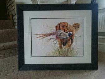 Golden Retriever original framed in a dark rustic frame with a double off white mount.