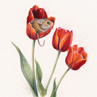 Mouse and tulip artwork by Kay Johns