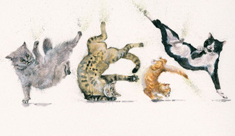 Breakdancing cats original by Kay Johns