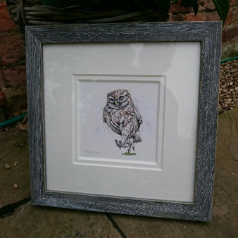 Distressed grey frame and off white double mount