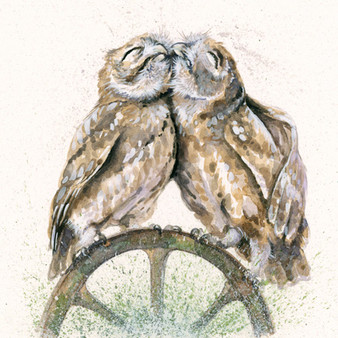 Original cuddling little owls by Kay Johns