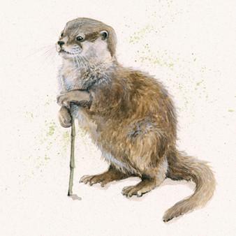 Original river otter artwork by Kay Johns