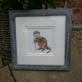 Distressed grey frame and double white mount
