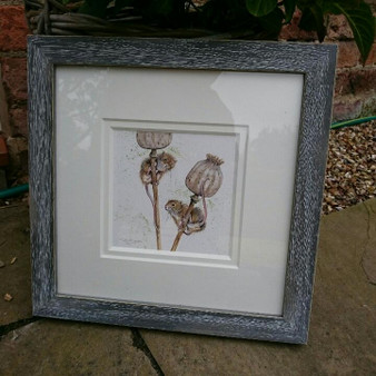 Distressed grey frame and double off white mount