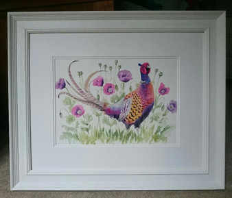 Original artwork by Kay Johns in a white frame