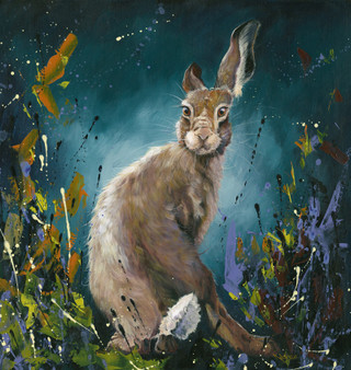 Original Hare painting 'Star Struck' by Kay Johns