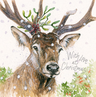 'Deer Santa' Christmas Greeting Card by Kay Johns