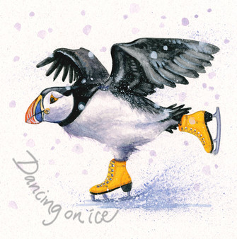'Dancing on Ice' Christmas Greeting Card by Kay Johns