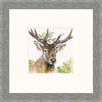 Stag hand-embellished artwork by Kay Johns  in grey frame