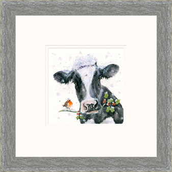 Jolly Holly Day's - Hand Embellished cattle artwork by Kay Johns - Grey Frame