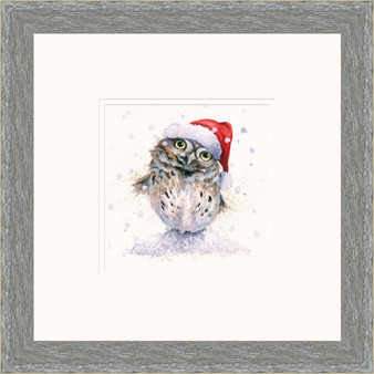 Hand-embellished owl artwork by Kay Johns - Grey frame