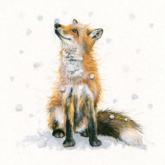 'Let it Snow' original, fox artwork by Kay Johns