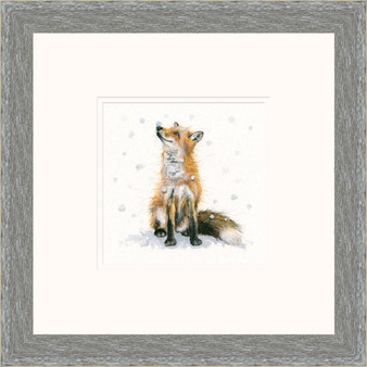 Hand-embellished fox artwork by Kay Johns - grey frame