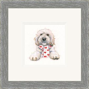Cockapoo dog artwork in a grey frame