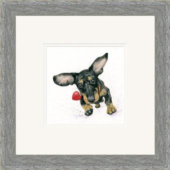 Dachshund sausage dog artwork grey frame