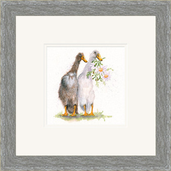 Duck artwork in a grey frame by Kay Johns