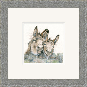 Donkey, hand embellished artwork by Kay Johns, in a grey frame