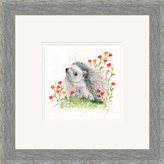 Hedgehog artwork by Kay Johns in a grey frame