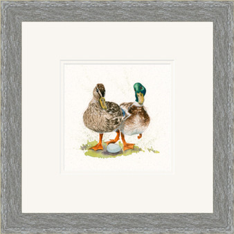 Duck hand embellished artwork by Kay Johns, in a grey frame