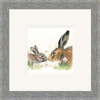 Hare original artwork by Kay Johns, Grey frame