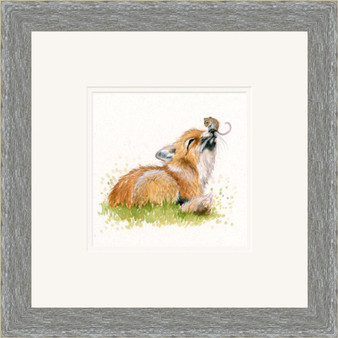 Fox and mouse original artwork by Kay Johns, in a grey frame