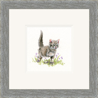 Kitten hand-embellished artwork by Kay Johns, shown in a grey frame