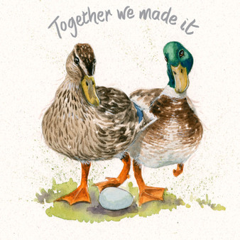 Mallard duck greeting card by Kay Johns - rear view