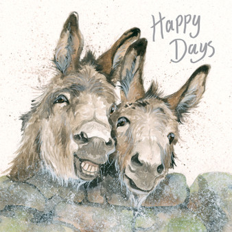 Donkey greeting card artwork by Kay Johns - rear view
