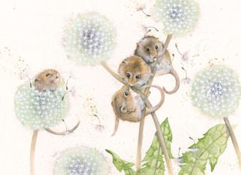 Original Harvest Mice Artwork by Kay Johns.