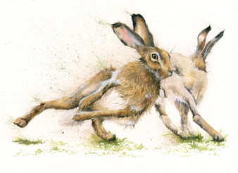 Original Racing Hare artwork by Kay Johns