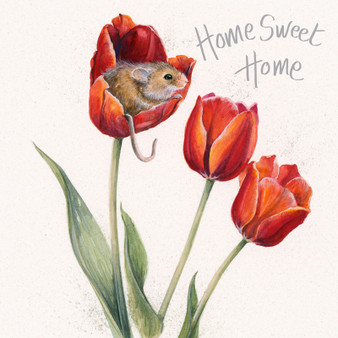 Flowerbed - Mouse in a tulip flower card by Kay Johns - front view