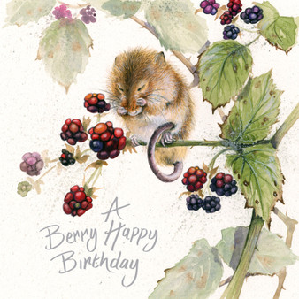 Blackberry mouse- Mouse & berry card by Kay Johns - front view