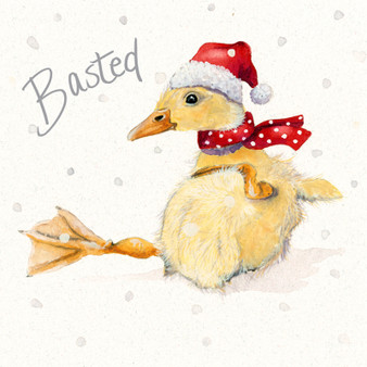 'Basted' Duck Christmas  card by Kay Johns - front image