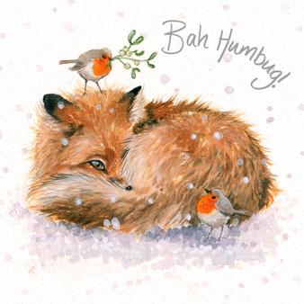 'Bah Humbug' Fox & Robin Christmas  card by Kay Johns - front image