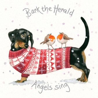 'Bark the Herald Angels' Sausage dog Christmas  card by Kay Johns - front & rear image