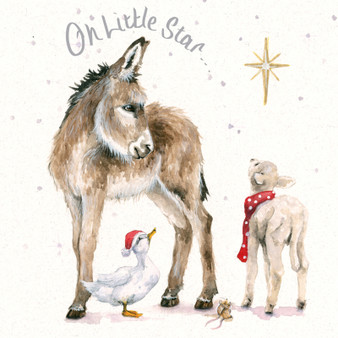 'Oh little Star' Donkey/sheep/duck Christmas  card by Kay Johns - front image