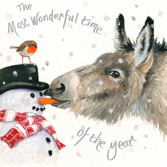 'A Crafty Nibble' Donkey/snowman Christmas  card by Kay Johns - front image