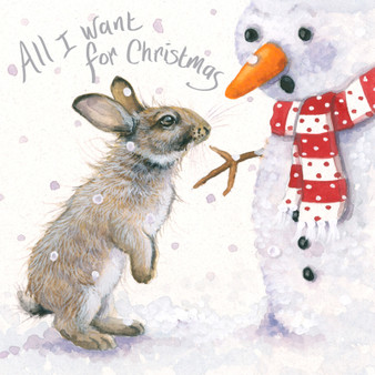 'All I want for Christmas' Rabbit/snowman Christmas  card by Kay Johns - front image