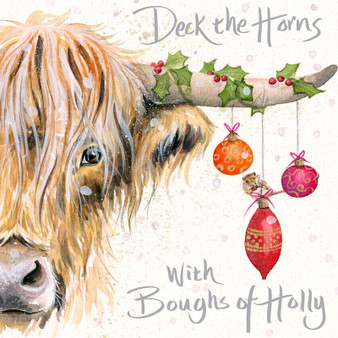 'Deck the Horns with Boughs of Holly' Highland cow Christmas  card by Kay Johns - front image
