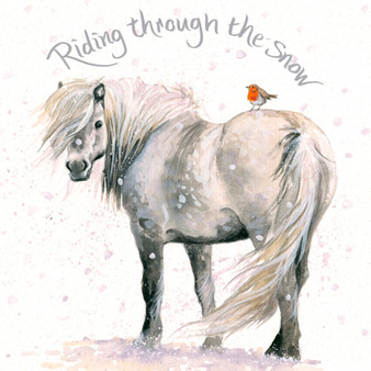 'Riding Through the Snow' Donkey Christmas  card by Kay Johns - front image