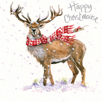 'North Wind' Stag Christmas  card by Kay Johns - front image