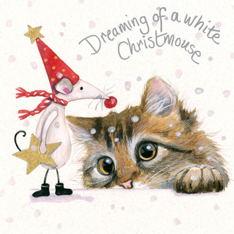 'White Christmouse' Cat & Mouse Christmas  card by Kay Johns - front image