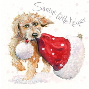 Santa's Little Helper' Cute dog card by Kay Johns - front image