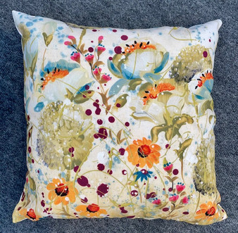 Green floral cushion by Kay Johns