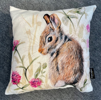 In The Pink - young hare cushion by Kay Johns