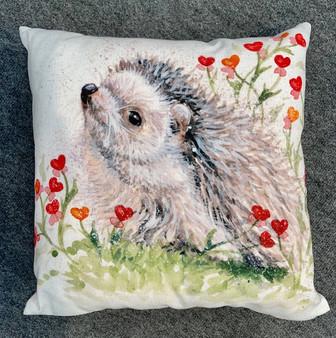 Blooming Love hedgehog cushion by Kay Johns