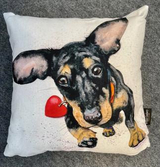 Incoming Kisses sausage dog cushion by Kay Johns