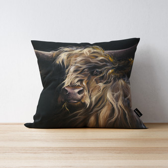 Macbeth highland cow cushion by Kay Johns