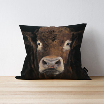 Big Brother bull cushion by Kay Johns