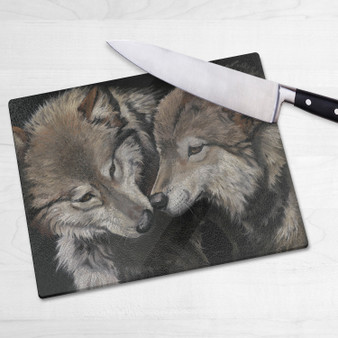 Glass chopping board-Side By Side. Artwork by Kay Johns